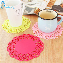 OnnPnnQ 2PCS Colorful Lace Flower Hollow Design Round Silicone Table Heat Resistant Mat Cup Coffee Coaster Cushion Placemat Pad