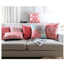 Geometric Cushion Covers Red Series Pillow Cases Star Stripe Supersoft Pillow Covers Bedroom Sofa Decoration