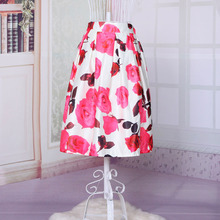 2015 summer new high waist high quality flash silk tutu skirts Wild section rose printed midi skirts for women free shipping