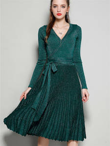 Dress Women Sequines Knitted Long-Sleeve Vintage Autumn Winter V-Neck Pleated-Wrap Vestidos