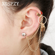XGSPZY Punk Rivet Tassel Ear Cuff Inlaid Multilayer Link Chain Fringe Spike Jewelry Crystal Piercing Circle Dangle Clip Earring(China)
