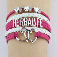 (10 Pieces/Lot) Infinity Love Herbalife Bracelets Heart Charm Handmade Rope Leather Weave Bangles For Women Men Jewelry Custom(China)