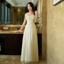champagne cheap lace off the shoulder fabric beautiful bridemaids long bridesmaid teen dresses for weddings 2016 under 50 H3727