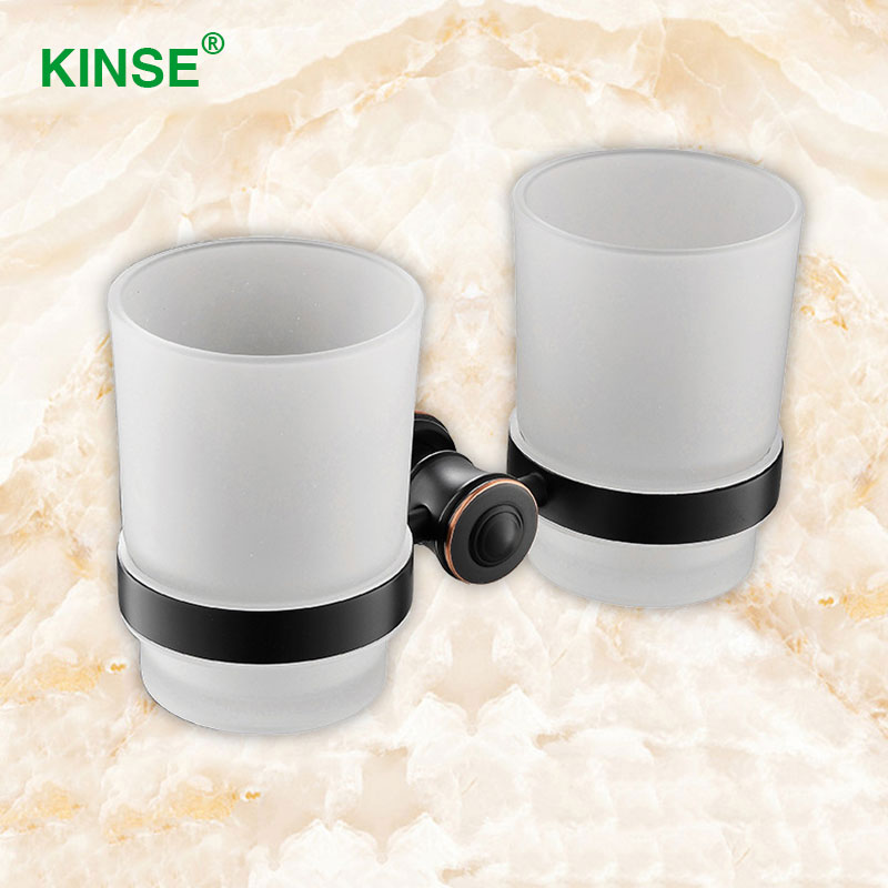 KINSE Luxury Brass Material Double Cup Holder White Color Glass Cups Bathroom Accessories Toothbrush Cup Holder<br>