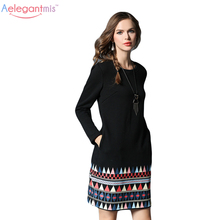 Aelegantmis 5XL Plus Size Long Sleeve Warm Lined Autumn Dress Women Fashion Fall Loose Casual Shift Dresses Ladies