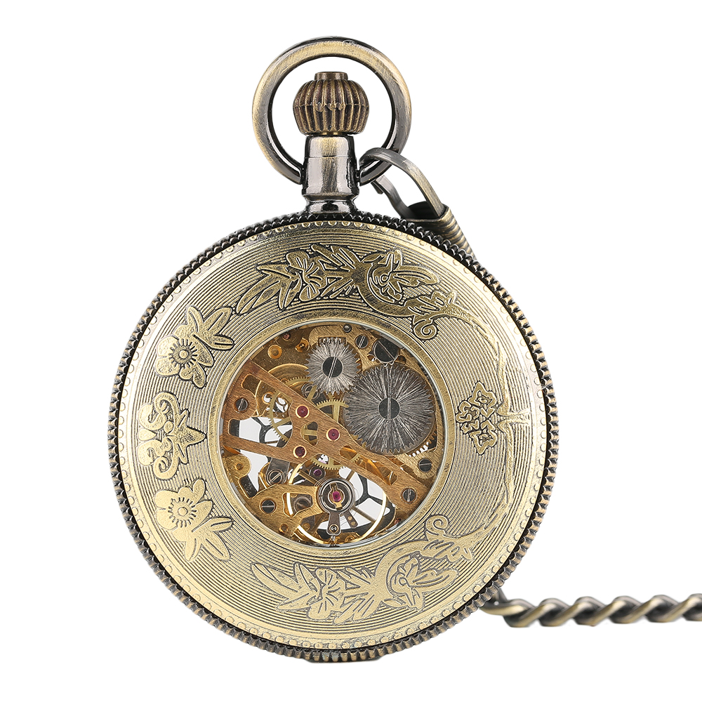 YISUYA Elegant Women Vintage Mechanical Pocket Watch Stempunk Skeleton Hand Winding Pendant Clock for Men Kid Xmas Watch Gift (2)