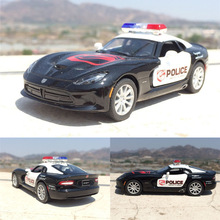 KINSMART American 1:36 Dodge Viper DieCast Metal Police Car Juguetes Pull Back Door Openable Alloy Toy Car Kids Gift