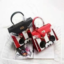 Women Tote Handbag Cartoon Mickey Mouse Genuine Leather High Quality Cute Sweet Evening Party Bags