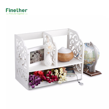 Finether 2-Tier Cut-Out Wood Plastic Composite Shelf Unit Desktop Organizer Storage Rack with 3 Compartments for Home Kitchen
