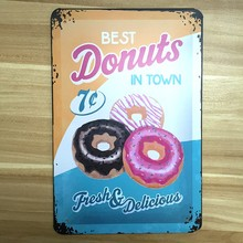 New Fresh DONUTS Plate Metal Plaque Vintage Restaurant tin sign iron painting retro wall antique bar pub cafe food poster