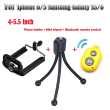 New Hot Gorillapod Type Flexible Tripod  Mini Tripod+ phone holder + Bluetooth remote control for iphone 6/5 samsumg Galaxy S5/6
