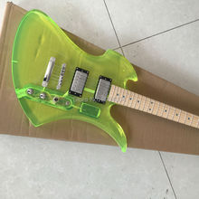 New yellow  acrylic  crystal special-shaped electric guitar, refers to the plate LED lights, can change according to the custom