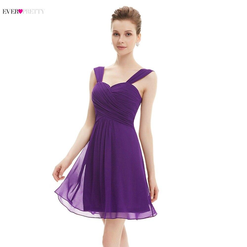 Helpful Dark Purple Cocktail Dresses 2018 Ever Pretty Sexy V-neck Backless Mini Short Party Gowns Vestido Prata Vfemage Cocktail Weddings & Events