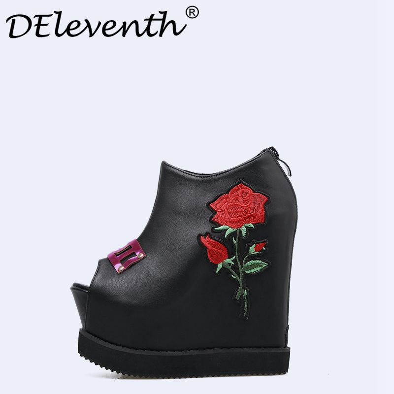 Beauty Contracted Style Rose Decoration Embroidered Women Party Shoes Peep Toe Height Increasing Wedges High Heel Boots Shoes<br>