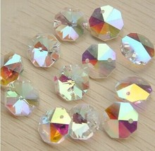100pcs/lot  ab colors 14MM GLASS CRYSTAL OCTAGON BEADS IN 2 HOLES FOR LAMP PARTS PENDANT