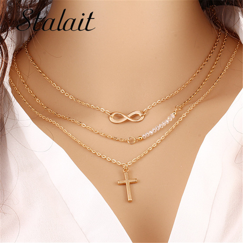 Big Brand Multi layer Metal Cross Pendant Necklace Inverted 8 Chain Claving Chain Beads Necklace For Women(China (Mainland))