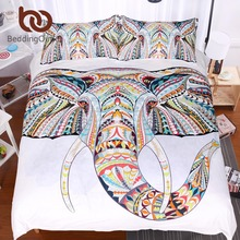 BeddingOutlet 3 Pieces 3D Elephant Bedding Set Bohemia Duvet Cover with Pillow Case Colorful Elephant Bed Set Hand Drawn Cover
