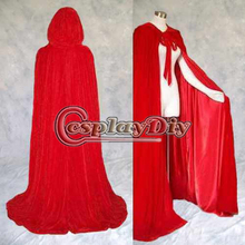 Lined Red Velvet Satin Cloak Medieval Witchcraft Wicca Cape Adult Women Winter Outside Wedding Cloak Halloween Costume D0419(China)