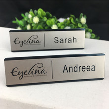 10pcs/lot magnet name badge holder reusable personalized logo laser name tags/badges with stainless steel metal name plate