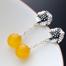 925 sterling silver cord Thai Tremella petals Tassel Earrings(China)