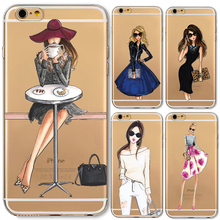 Phone Cases for iphone 6 6s Plus 6Plus 4 4s 5c 5 5s SE Soft Slim TPU Transparent Cartoon Modern Sexy Girls Pattern Case Cover(China)