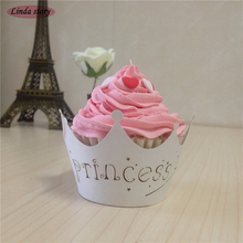 Big Heard Lov 50pcs Laser Cut Princess Crown Cupcake Wrapper Wedding Favors Party Supplies Decoration Birthday Party Decoration(China)