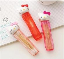 Cute Hello Kitty Transparent Cotton Sticks Toothpick Holder.Pocket Small Portable Toothpick Box.Home Dining Table Decor