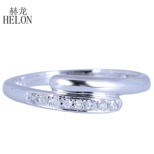 HELON Solid 10K White Gold Pave Natural Diamonds Wedding Anniversary Band Ring Lady Exquisite Jewelry Ring Setting Wholesale(China)