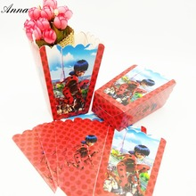 6pcs/lot Cartoon Ladybug Party Supplies Popcorn Box Gift Box Favor Accessory Birthday Party Supplies Kids Event&Party Supplies 1