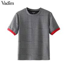Vadim women elegant plaid shirt houndstooth short sleeve o neck blouse vintage basic fashion casual chic tops blusas DT1312(China)