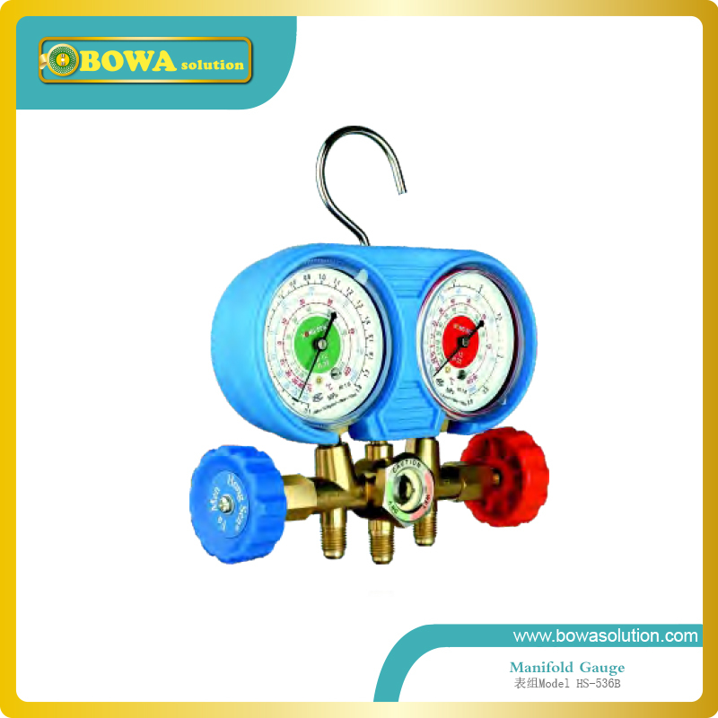 R404a, R134a and R22 manifold Gauge set with copper valve body for freezer equipment repair<br>