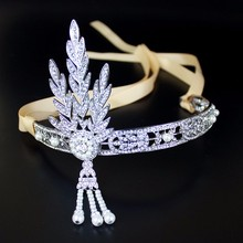 The Great Gatsby Hair Accessories Crystal Pearl Tassels Hair Headbands Head Jewelry Wedding Bridal Hairbands Tiaras and Crowns(China)