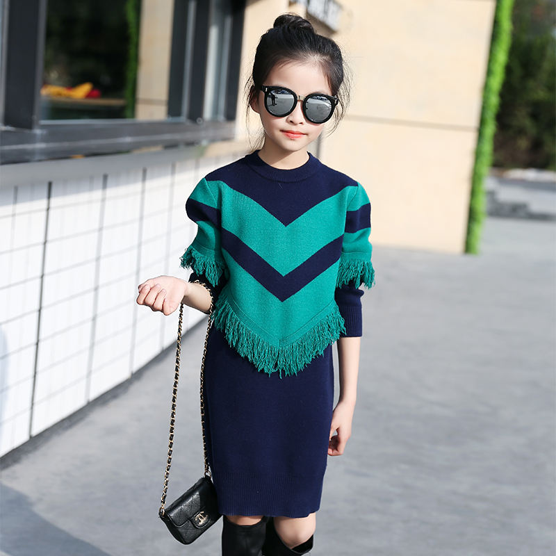 5 6 7 8 9 10 11 12 13 Years Girls Casual Sweater Dress 2017 Autumn Long Sleeve Elegant Dresses Teenager Girls Fashion Clothes<br>