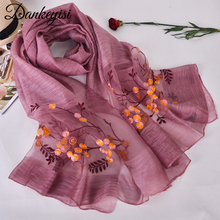 [DANKEYISI] Women Scarves New Design Wool Silk Scarf 190*90cm Floral Embroidered Long Shawls Fashion Ladies Wraps High Quality(China)