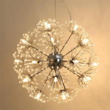 Nordic Luxury Dandelion Crystal Led Pendant lights,Creative Lustres G4 Pendant lights for Dining Room Bedroom Hanging lamp Deco