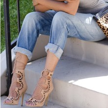 Summer Roman Style Gladiator Carved Cut Out Open Toe Sandals Runway Party Wedding Women Faux Suede Shoes Stiletto Pump High Heel