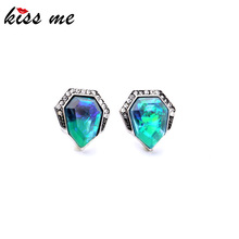 Concise Style Modern Women Party Jewelry Sparkling Blue Crystal Stud Earrings Factory Wholesale(China)