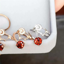 Days pink Garnet Ring Taobao hot sellers on behalf of micro 18K wholesale gold S925 silver free shipping(China)