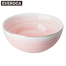 3 Colors European Style Gold Rim Spot Ceramic Bowl Rice Soup Bowl Mixing Bowl(China)