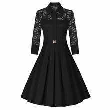 Buy Robe Femme Sexy Vintage Floral Lace Dress Women Elegant Long Sleeve 50s 60s Retro Style Work Party Dress for $16.76 in AliExpress store