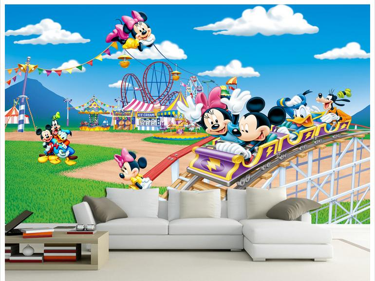 3D photo wallpaper custom 3d wall mural wallpaper Mickey Mouse Park cartoon bedside wall painting 3d children room decoration(China (Mainland))