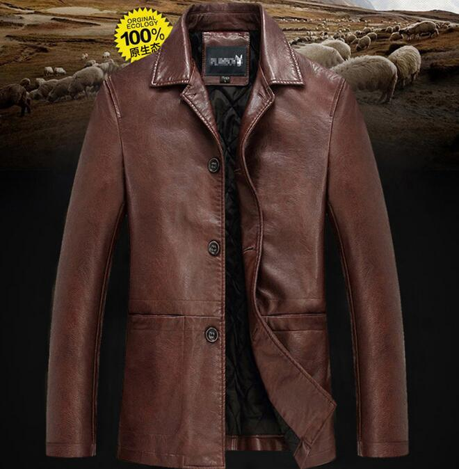 HOT 2019 Spring Middle-aged And Old Fashion Big Yards More Leather Jacket Lapel Coat