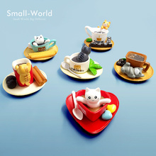 Kawaii Dessert Cat Miniature Figurine Bonsai ornament home decoration fairy garden cartoon statue Diy resin craft toy figures