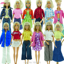 Randomly Pick 10 pcs / lot Doll Clothing Sets Fashionable Clothes Casual Dress Suits For Barbie Doll Shoes Best Gift Baby Toy Z4