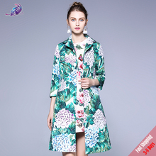 High Quality Women Winter Coats Long Sleeve Single Breasted Warm Hortensia Floral Print Casual Trench Coat Overwear Free DHL(China)