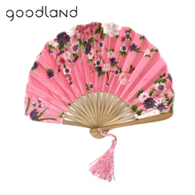 Free Shipping High Quality 1PC with Delicate Packaging Japanese Fabric Floral Pattern Pocket Folding Bamboo Fans For Girls Women