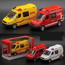 Hot Sale 1:36 Diecast Cars Alloy Ambulance Fire Engines Express Car Light Music Metal Model Car Toys For Children Brinquedos(China)