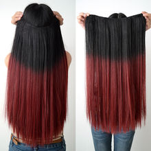 "24"" Long Dip Dye Ombre Hair Weft Clip In Extension 60cm Hair Extensions Heat Resistant Long Hair Black to Wine Red 2016"