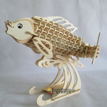 Wooden Fish 3 d puzzle animal model Wood handmade assemble furnishing toys gift for child