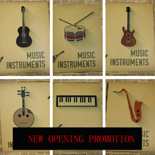 Classical instruments posters decorative painting folk music classroom piano Bass keyboard violin trumpet wall charts
